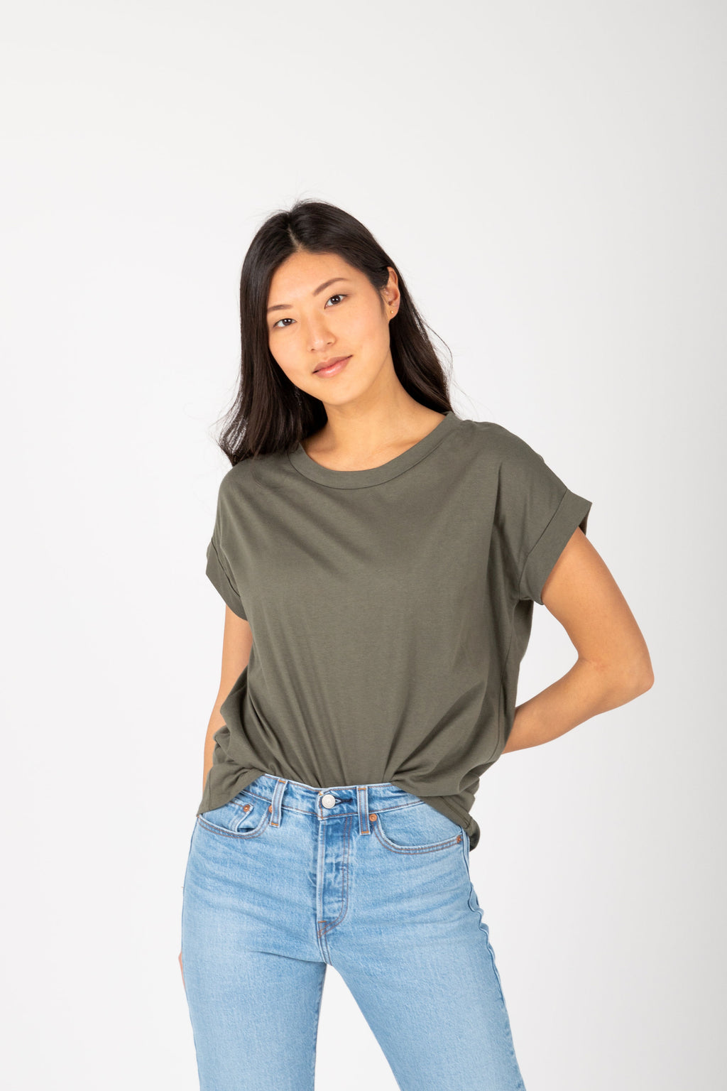 The Allegro Cuff Basic Tee in Olive, studio shoot; front view