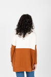 The Strike Casual Pocket Sweater in Camel + Ivory, studio shoot; back view