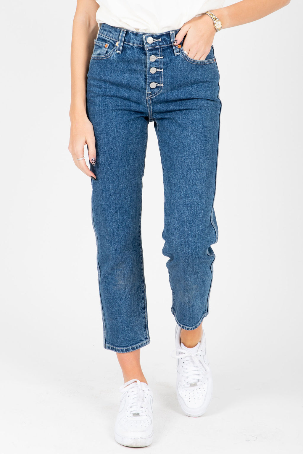 Levi's: Wedgie Fit Straight Utility Jeans in Middle Sister, studio shot; front view