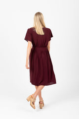 The Raymond Tie Dress in Mulberry