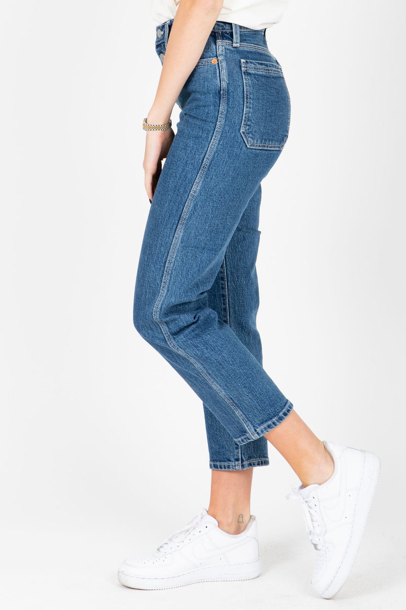 Levi's: Wedgie Fit Straight Utility Jeans in Middle Sister, studio shot; side view