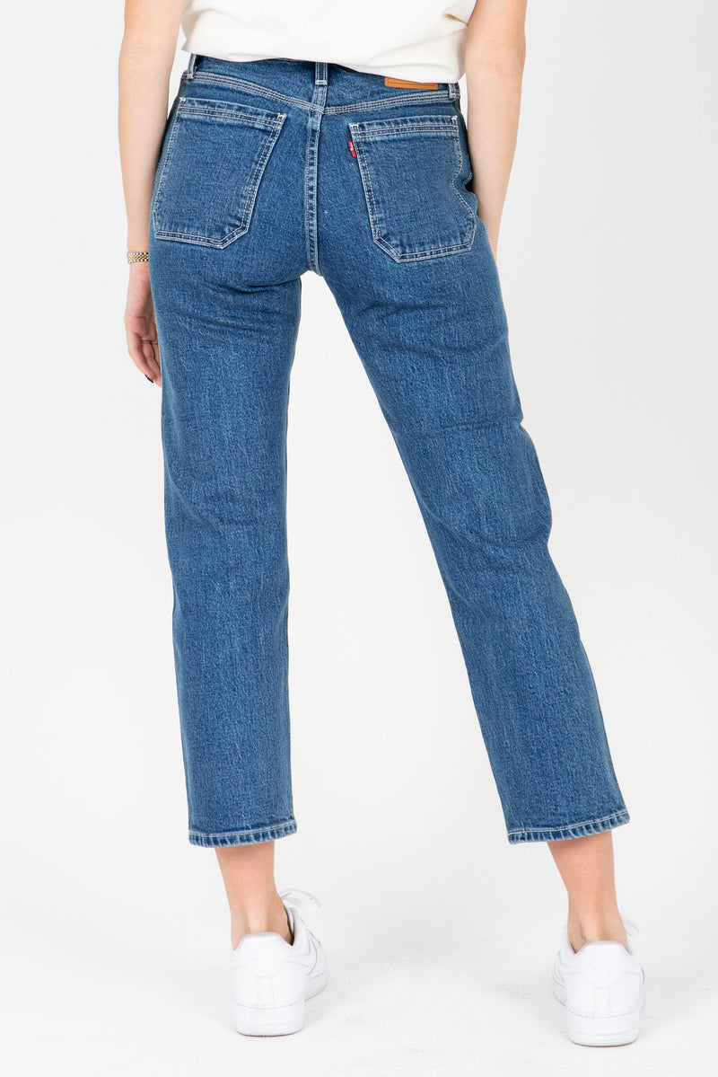 Levi's: Wedgie Fit Straight Utility Jeans in Middle Sister, studio shot; back view