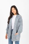 The Darby Crochet Knit Cardigan in Steel Blue, studio shoot; front view
