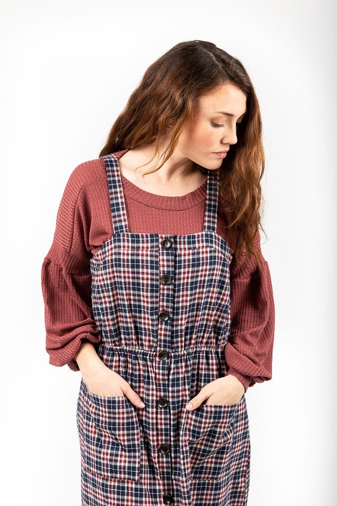 The Thaxton Plaid Button Jumper Dress in Navy