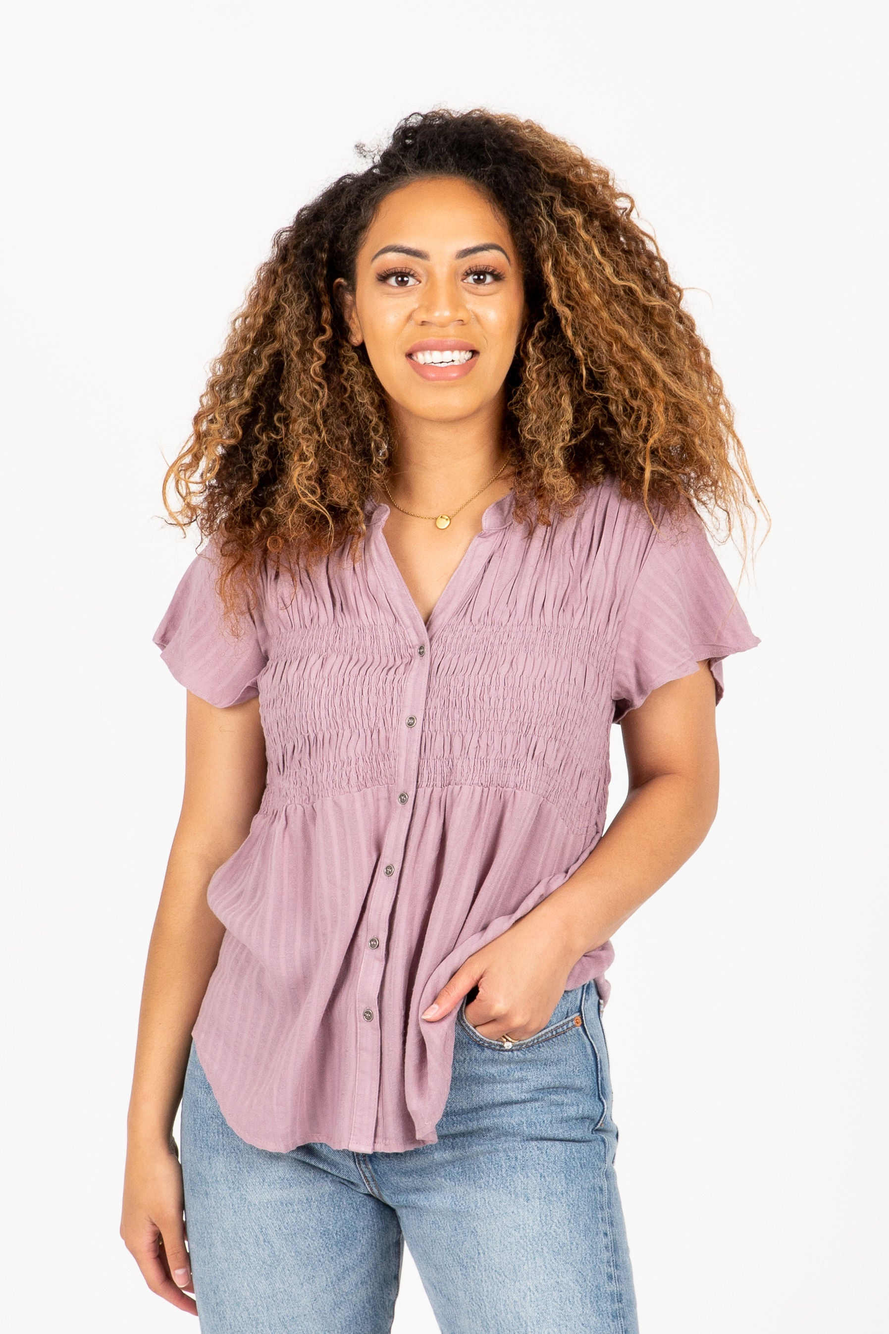 The Madura Shirred Peplum Blouse in Lavender