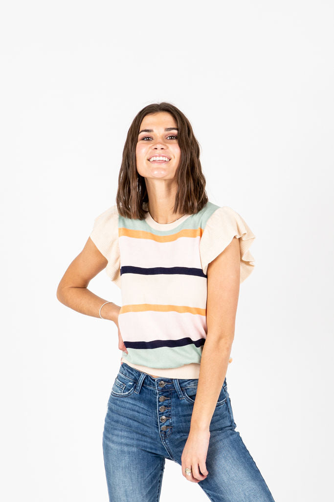 The Whalen Ribbed Blouse in Cream Stripe, studio shoot; front view