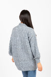 The Darby Crochet Knit Cardigan in Steel Blue, studio shoot; back view
