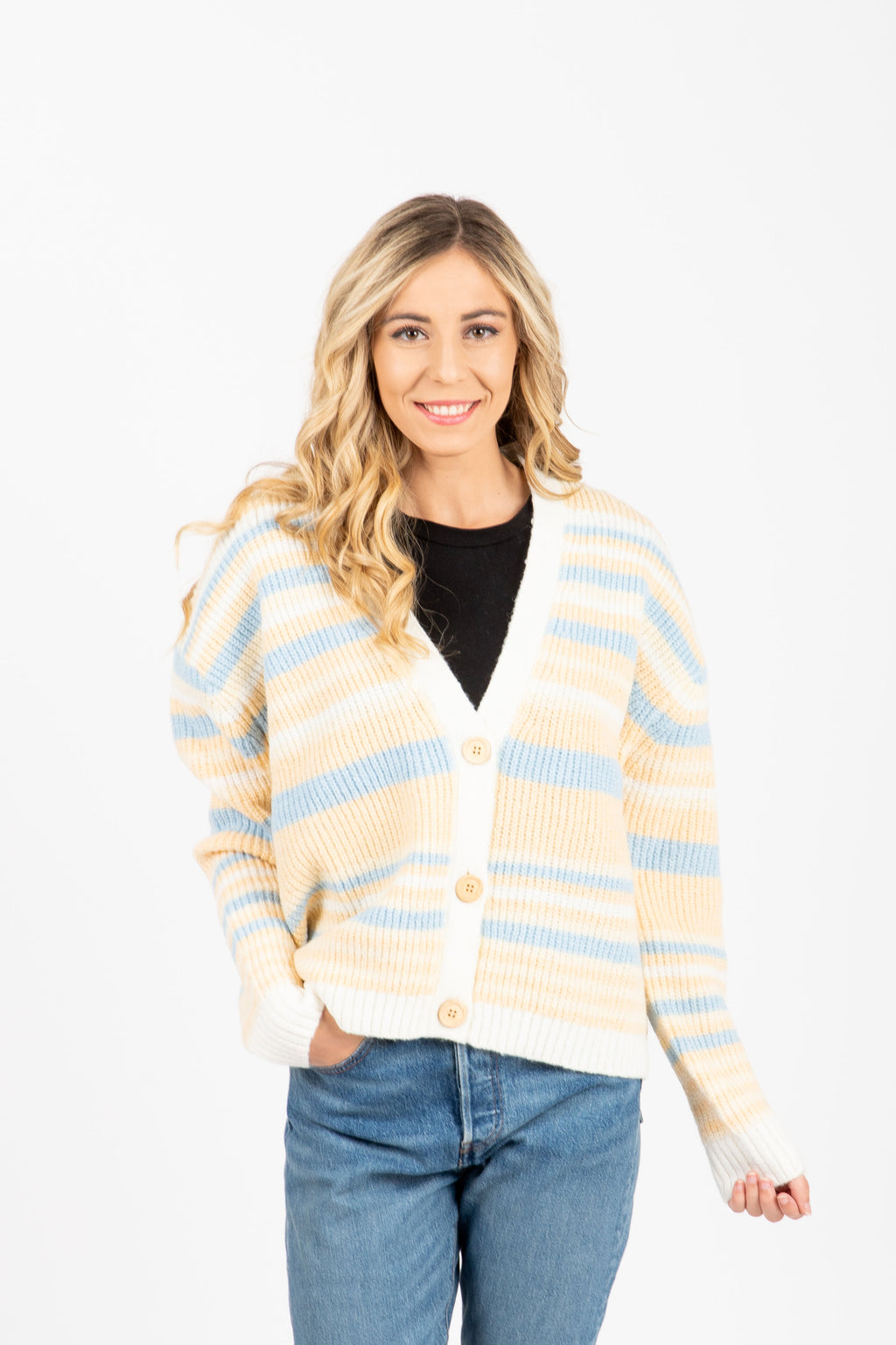 The Bryon Striped Button Cardigan in Blue + Cream