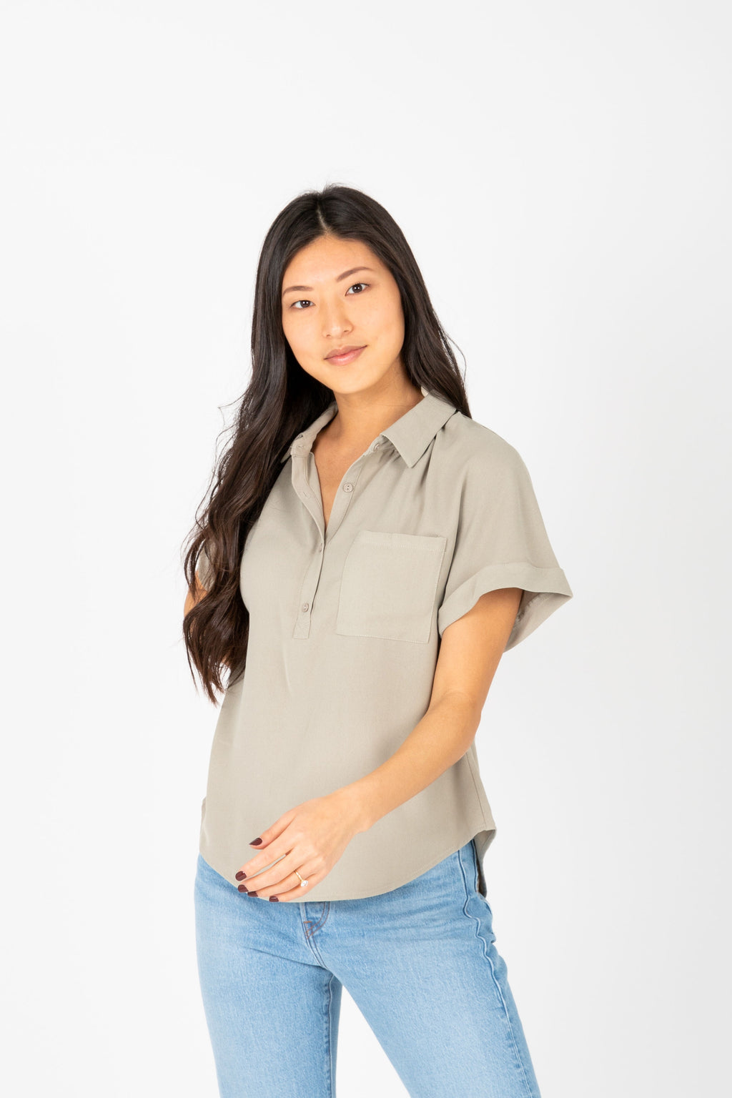 The Vada Collared Popover Blouse in Sage, studio shoot; front view