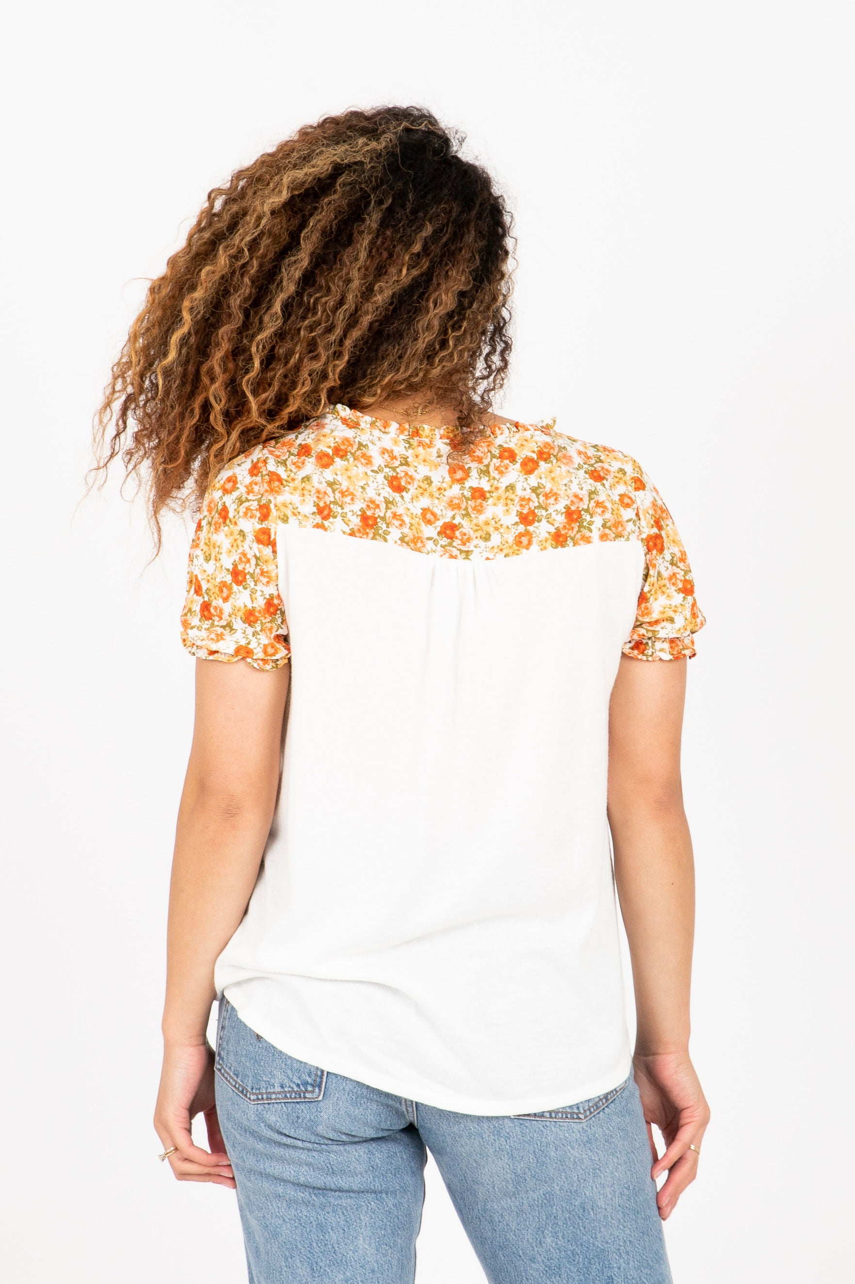 The Hearter Floral Knot Contrast Blouse in Ivory