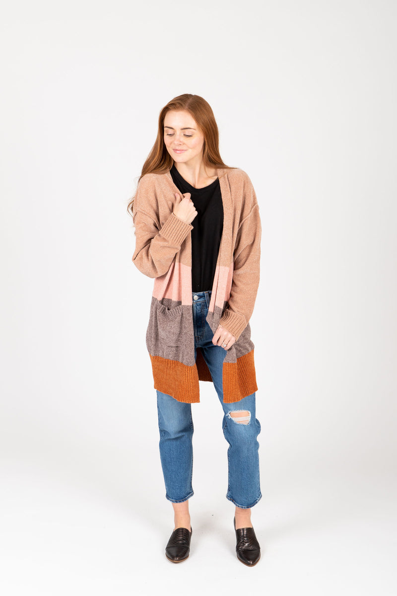 The Walcott Striped Cozy Cardigan in Blush Multi, studio shoot; front view