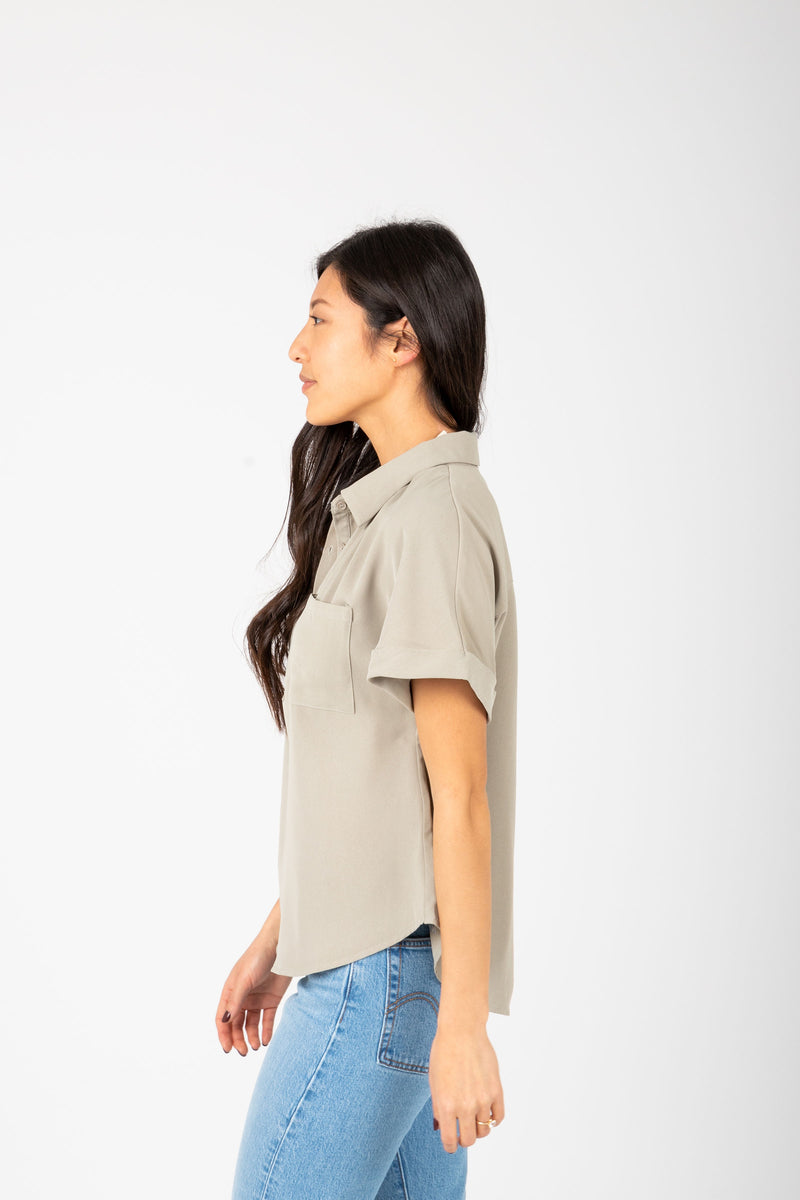 The Vada Collared Popover Blouse in Sage, studio shoot; side view