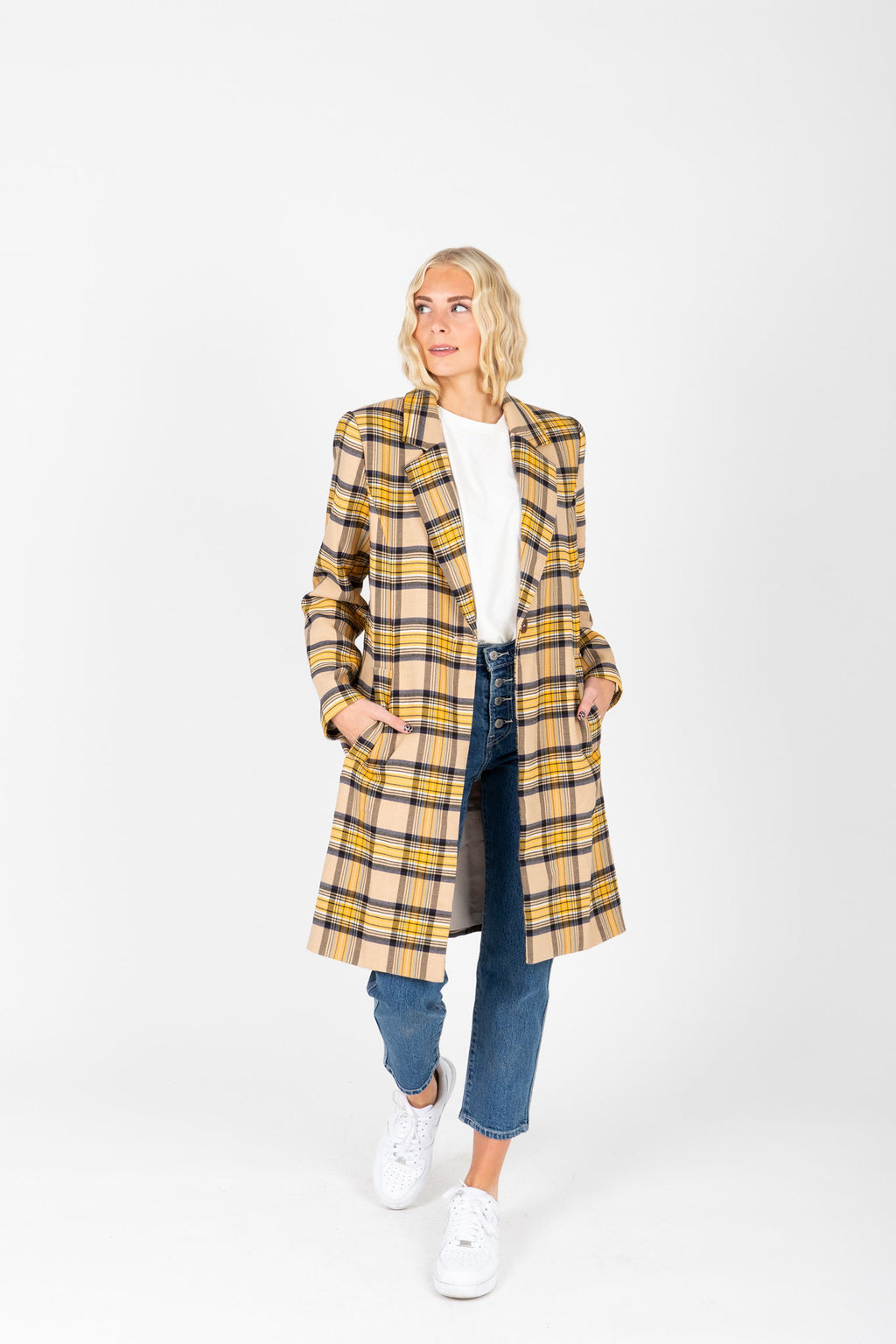 The Perdy Plaid Collared Coat in Mustard + Taupe, studio shoot; front view