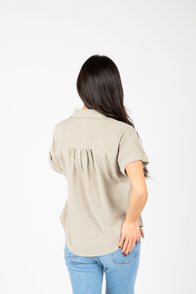 The Vada Collared Popover Blouse in Sage, studio shoot; back view