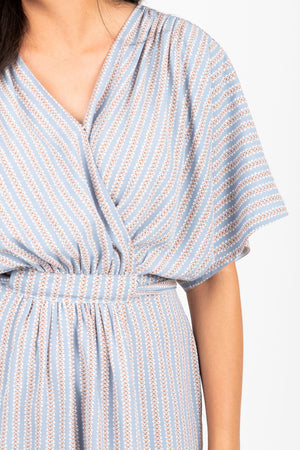Piper & Scoot: The Structure Striped Wrap Dress in Light Blue