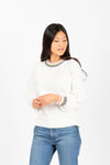 The Baker Striped Trim Sweater in Cream, studio shoot; front view