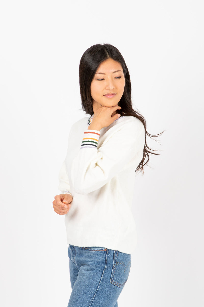 The Baker Striped Trim Sweater in Cream, studio shoot; side view