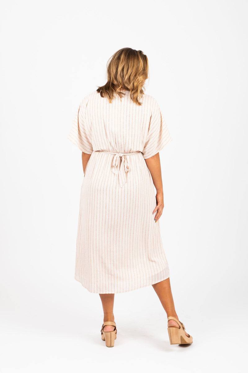 Piper & Scoot: The Structure Striped Wrap Dress in Natural