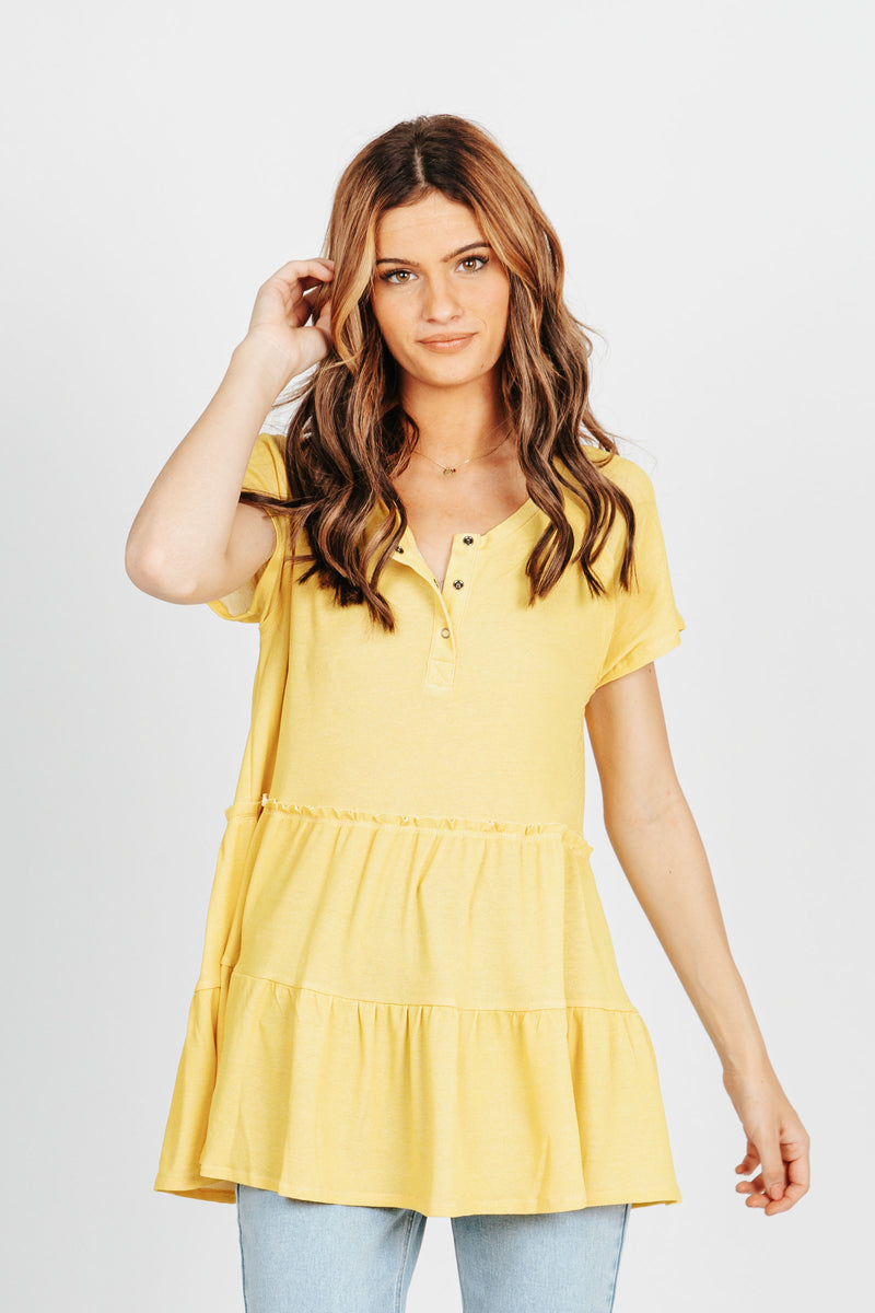 The Holmes Tiered Blouse in Yellow, studio shoot; front view