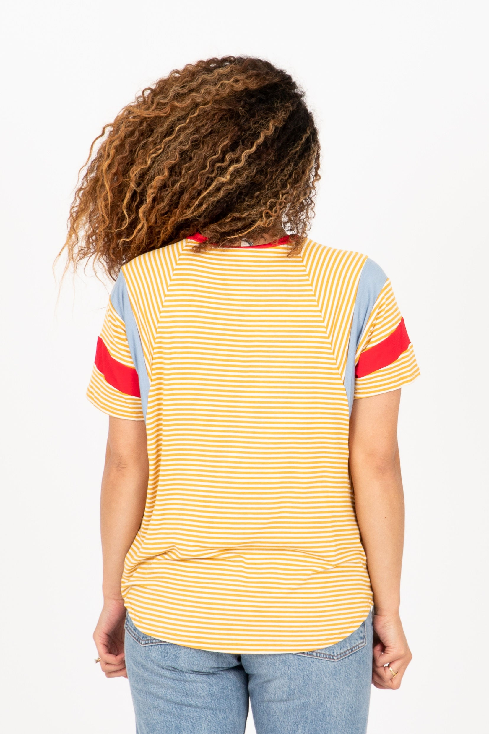 The Topanga Striped Block Blouse in Mustard