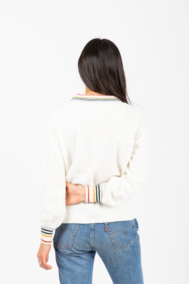 The Baker Striped Trim Sweater in Cream, studio shoot; back view