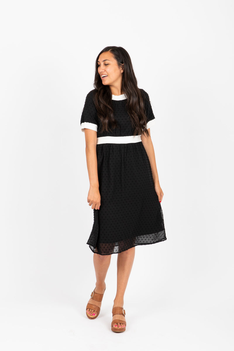 Piper & Scoot: The Nola Contrast Dress in Black