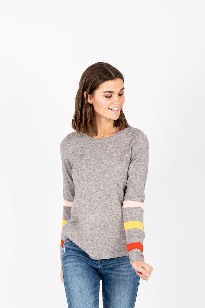 The Faison Striped Detail Sweater in Grey, studio shoot; front view