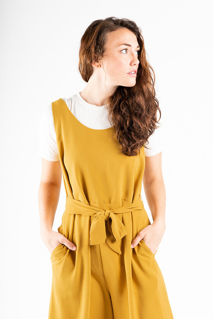 The Waverly Belted Jumpsuit in Mustard