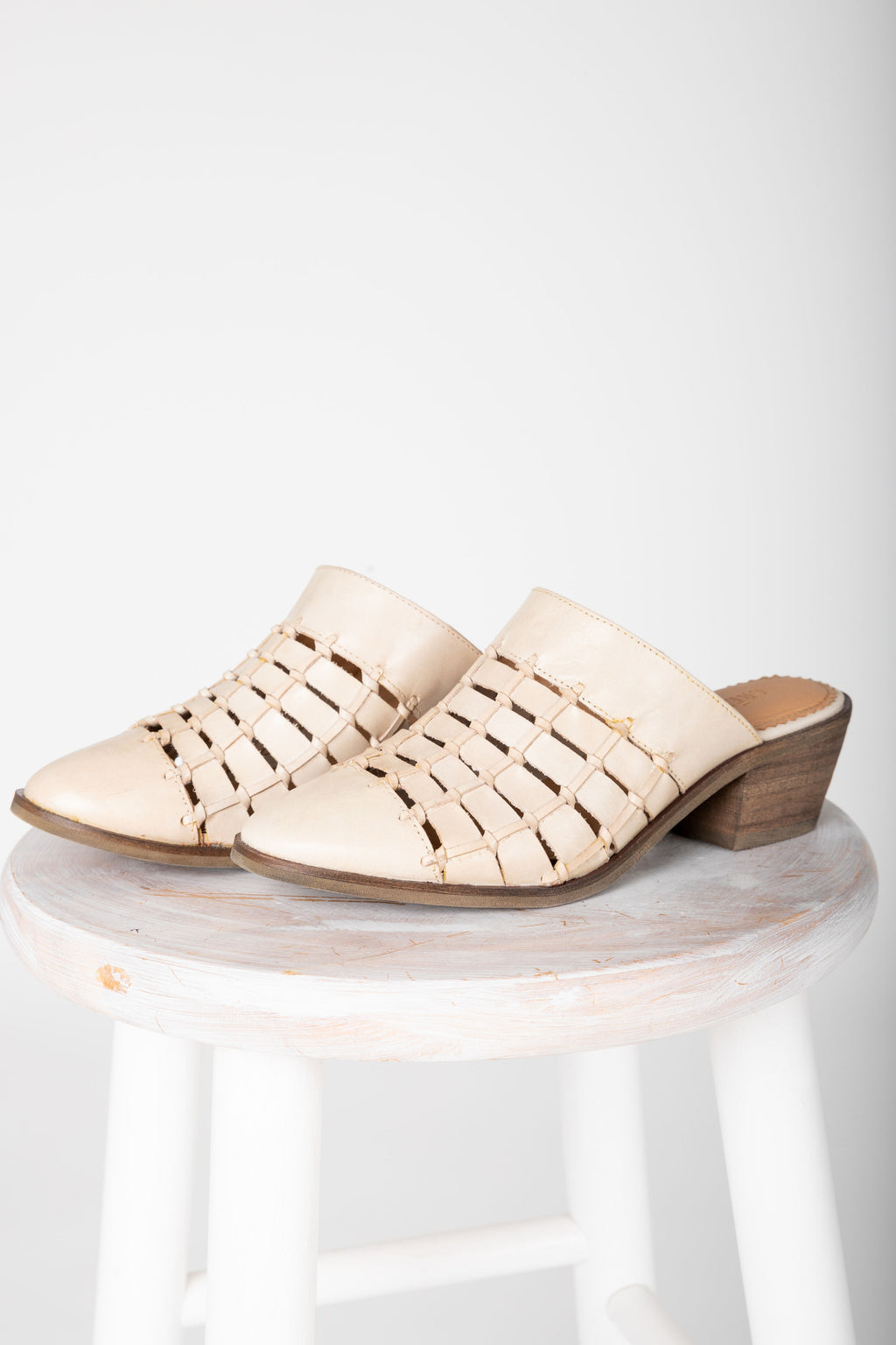 Crevo Footwear: Lavender Mule in Bone, studio shoot; side view
