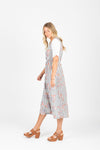 Piper & Scoot: The Escape Striped Floral Dress in Light Grey, studio shoot; side view