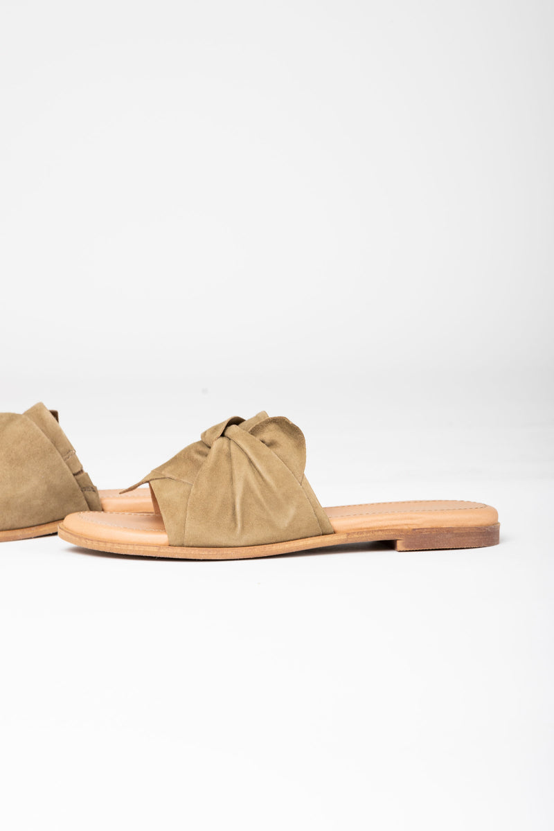 Crevo Footwear: Aviana Slide Sandal in Olive, studio shoot; side view