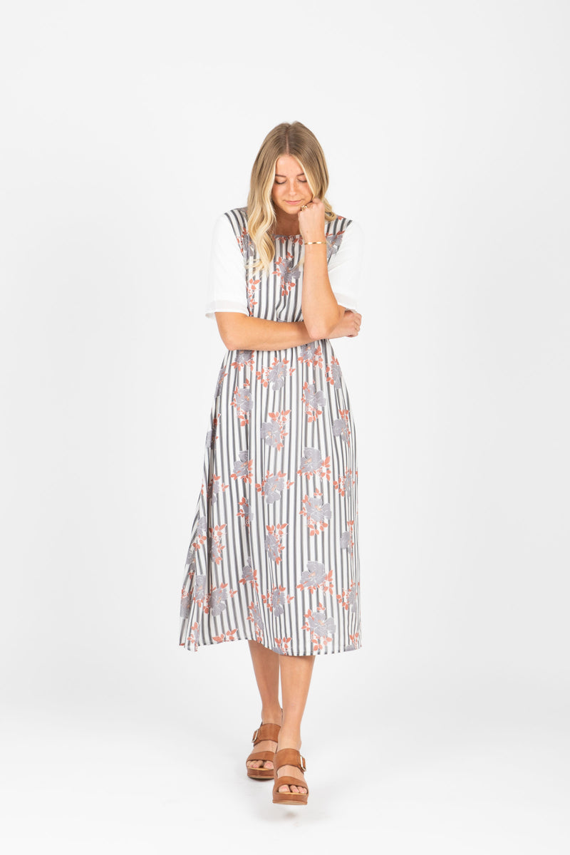 Piper & Scoot: The Escape Striped Floral Dress in Light Grey, studio shoot; front view