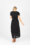 Piper & Scoot: The Curious Cotton Detail Dress in Black, studio shoot; back view
