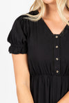 Piper & Scoot: The Curious Cotton Detail Dress in Black, studio shoot; closer up front view