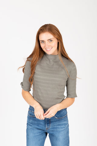 The Noa Ribbed Henley in Ivory
