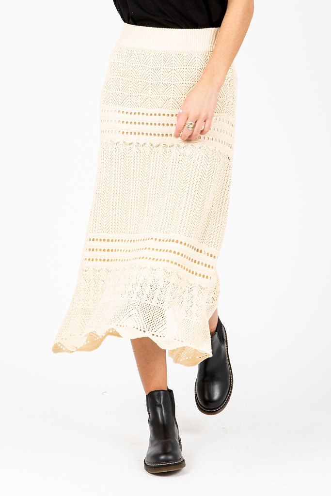 The Lucas Crochet Skirt in Oatmeal, studio shoot; front view