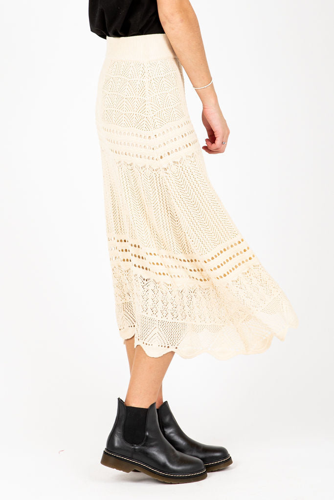 The Lucas Crochet Skirt in Oatmeal, studio shoot; side view