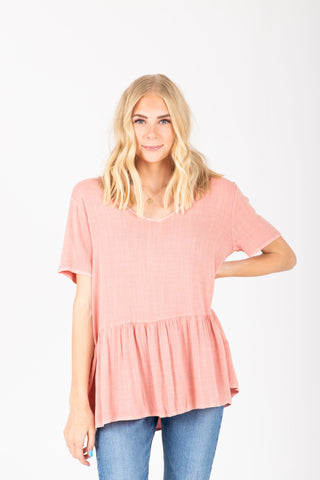 The Morgan Lace Flutter Blouse in Blush