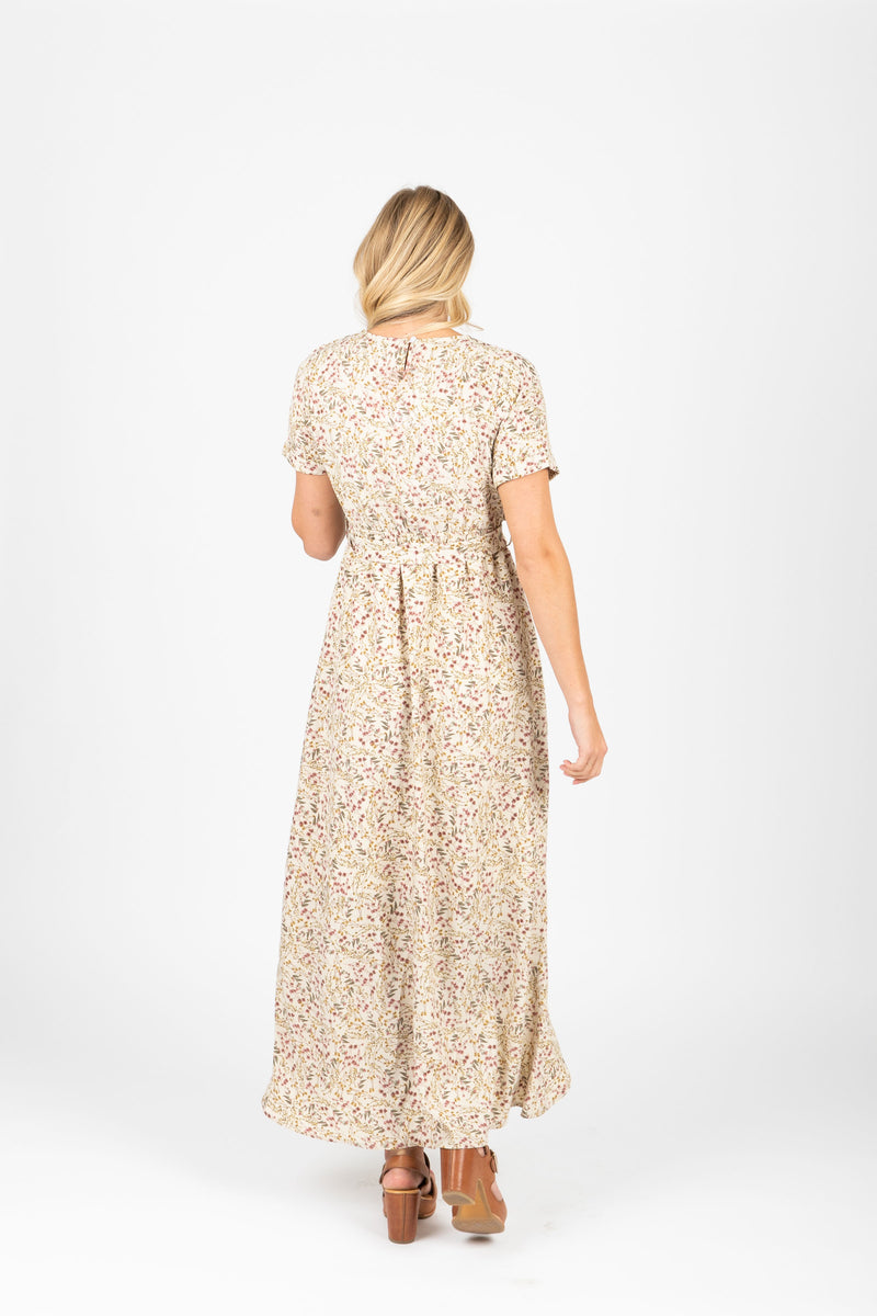 The Carla Floral Tie Dress in Taupe, studio shoot; back view