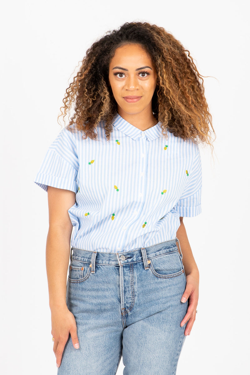 The Falling Pineapples Button Up Blouse in Blue Stripe