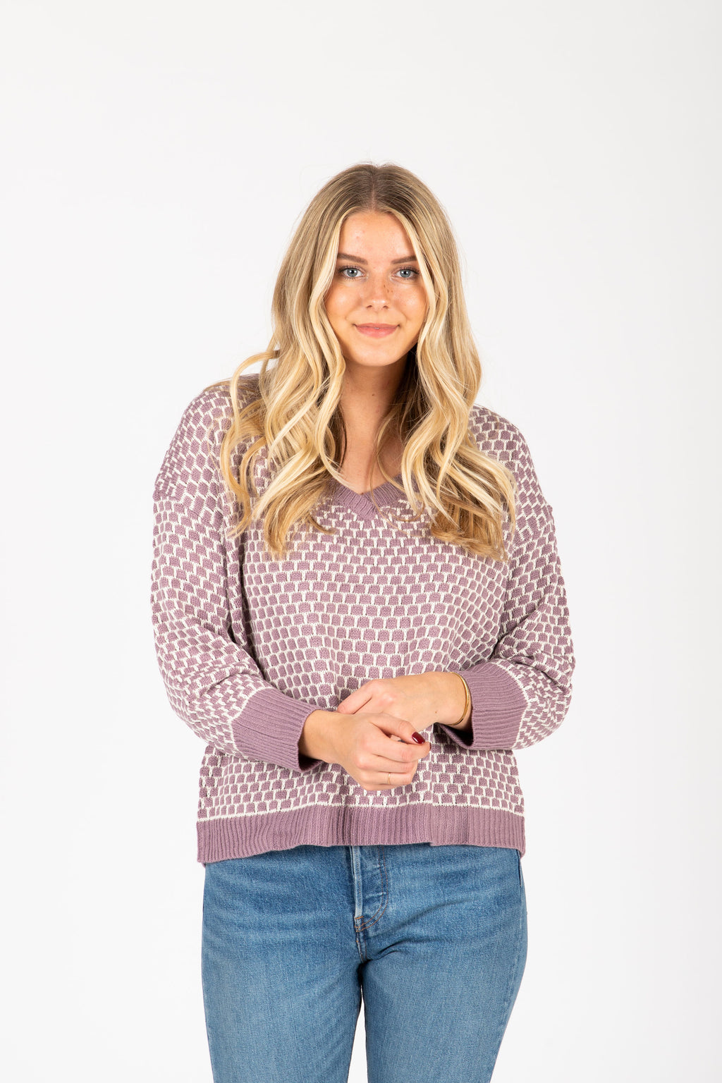 The Waithe Patterned Sweater in Lavender, studio shoot; front view
