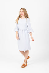 The Plumful Ruffle Dress in Light Grey