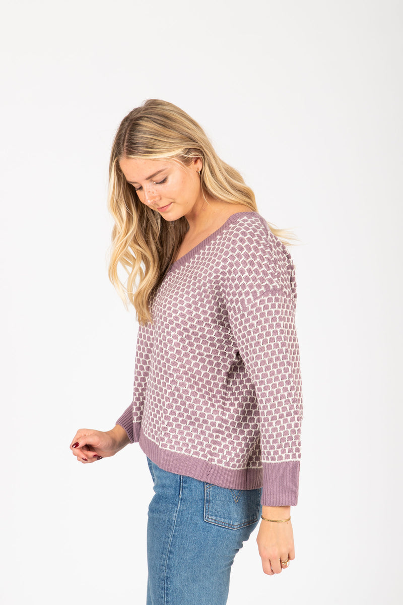 The Waithe Patterned Sweater in Lavender, studio shoot; side view