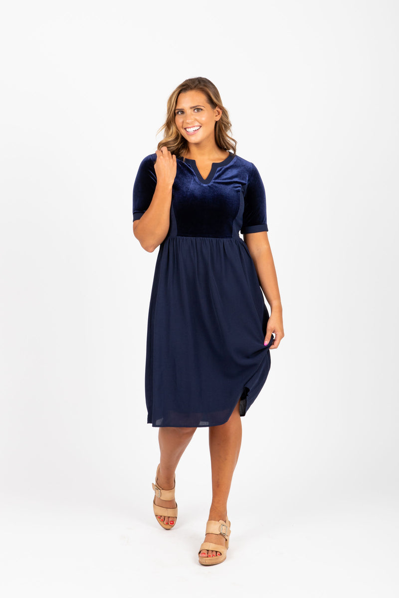 Piper & Scoot: The October Velvet Contrast Dress in Navy