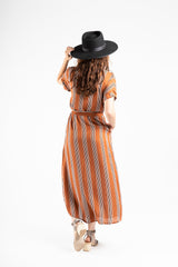 The Dodson Striped Button Dress in Rust