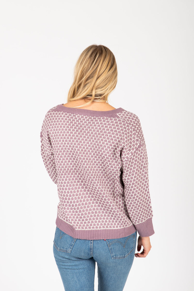 The Waithe Patterned Sweater in Lavender, studio shoot; back view
