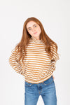The Bertie Striped Mock Neck Blouse in Mustard, studio shoot; front view