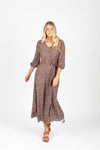 The Well Floral Wrap Maxi Dress in Taupe
