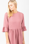 The Plumful Ruffle Dress in Mauve