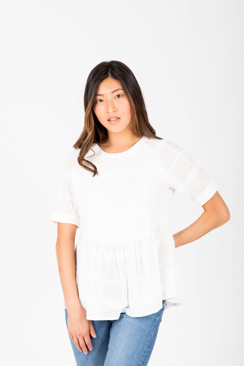 The Rayden Detail Peplum Blouse in White
